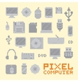 Pixel art isolated computer objects set vector image vector image