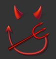 realistic 3d devil red horns tail and fork set vector image