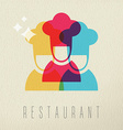 Restaurant chef icon concept color design vector image vector image