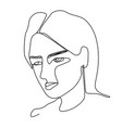 sad woman one line art portrait facial expression vector image vector image