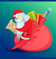 santa claus with a huge bag of gifts vector image vector image