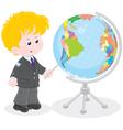 Schoolboy and globe vector image vector image