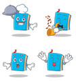 set of blue book character with chef trumpet vector image vector image