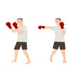 set of cartoon men doing boxing exercises vector image vector image