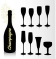 set of silhouettes glasses and bottle of champagne vector image