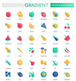 set trendy flat gradient fruits and vector image vector image