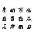 Silhouette home and house insurance and risk icons vector image vector image