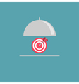 Silver platter cloche and target Flat design style vector image vector image