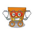 super hero wooden trolley character cartoon vector image