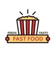 Takeaway popcorn bucket retro thin line symbol vector image