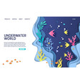 underwater world website landing page vector image vector image