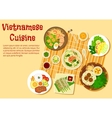 Vietnamese family dinner served on floor flat icon vector image