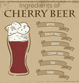 vintage of card with recipe of cherry beer vector image vector image