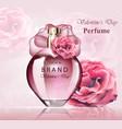 women perfume bottle delicate rose fragrance vector image