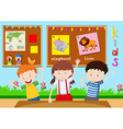Three children learning in classroom vector image