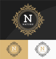 Vintage monogram logo template with circle frame vector image