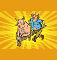 a farmer is transporting a pig on a wooden vector image
