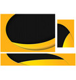 abstract black and yellow tech design set vector image vector image