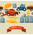 Agricultural seamless pattern with harvesting vector image vector image