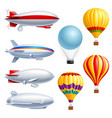 airship realistic icon set vector image vector image