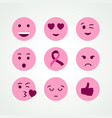 breast cancer awareness pink emoji face icon set vector image