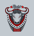 bull logo with inscription rodeo on a gray vector image