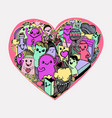 cartoon hearts pattern hand-drawn kawaii monsters vector image