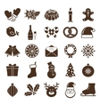 christmas silhouettes icons vector image