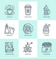 coffee making brewing equipment line icons vector image