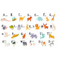 colorful alphabet with cute funny animals english vector image