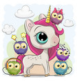 cute cartoon unicorn and five owls vector image vector image