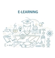 Doodle style design concept of e-learning and vector image vector image