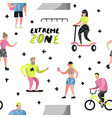 extreme sports seamless pattern with cartoons vector image vector image