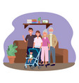 family with bacarriage vector image