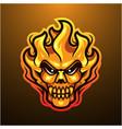 fire skull head mascot logo vector image vector image