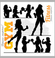 fitness woman girl silhouettes vector image