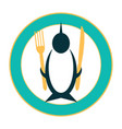 funny icon of a penguin on a plate vector image vector image
