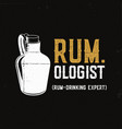 hand drawn fun rum poster with bottle and quote vector image vector image