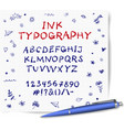 hand-drawn ink pen sketch font on lined vector image