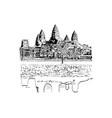 hand drawn sketch of angkor wat temple vector image