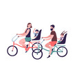 happy family riding tandem bicycles or bicycling vector image vector image