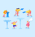 happy people splashing and playing with water in vector image