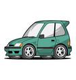 hatchback car cartoon vector image vector image