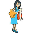 housewife with a long shopping list vector image
