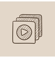Media player sketch icon vector image vector image