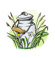 milk cans with grass vector image vector image