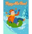 New year card cute child on snow tubing vector image vector image