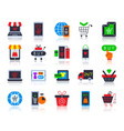 online shop simple flat color icons set vector image vector image