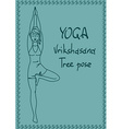 Outline girl in Tree yoga pose vector image vector image