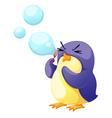 penguin blowing bubbles vector image vector image